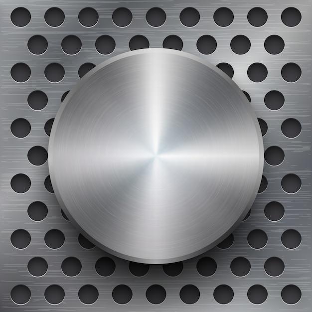Fundo metálico com banner 3d. textura lustrosa de prata ou ferro polida, ilustração vetorial Vetor grátis