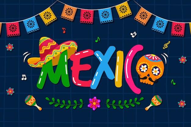 Fundo mexicano colorido com caveira Vetor Premium