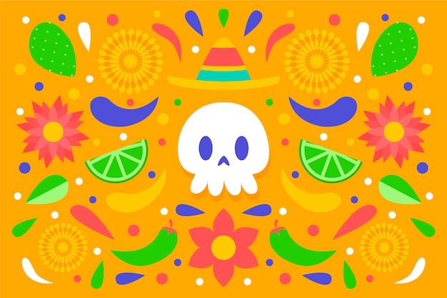 Fundo mexicano colorido com crânio vista frontal Vetor grátis