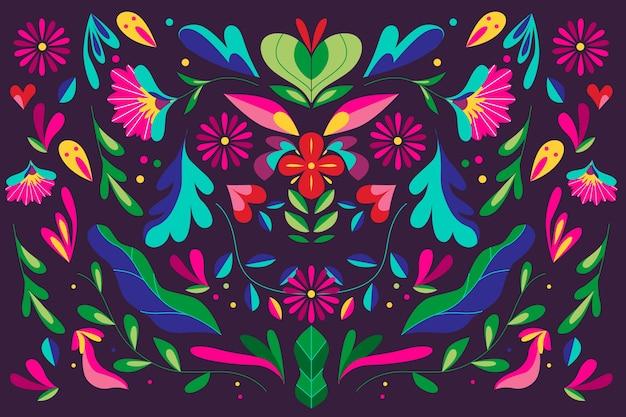 Fundo mexicano colorido com ornamentos florais Vetor grátis
