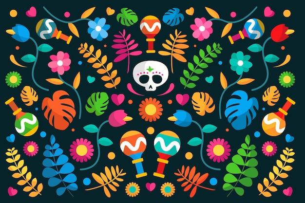 Fundo mexicano com flores e caveira Vetor grátis