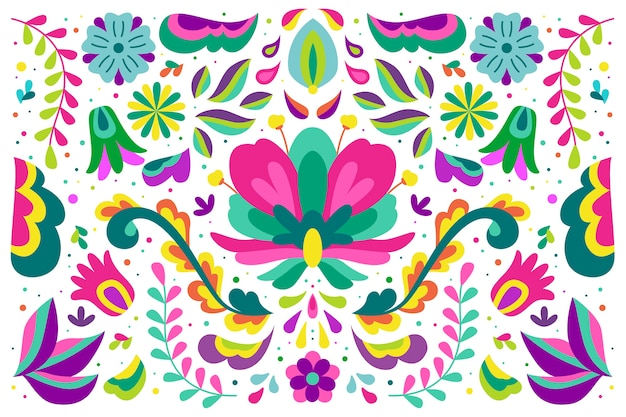 Fundo mexicano de design colorido Vetor grátis