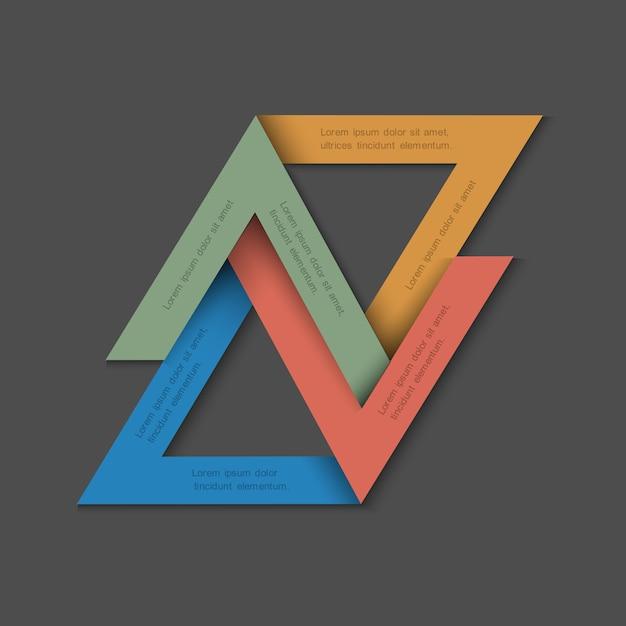 Fundo minimalista com triângulos de papel Vetor Premium