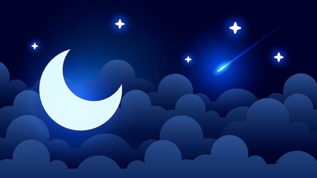 Fundo místico do céu noturno com meia lua, nuvens e estrelas. noite de luar. Vetor Premium