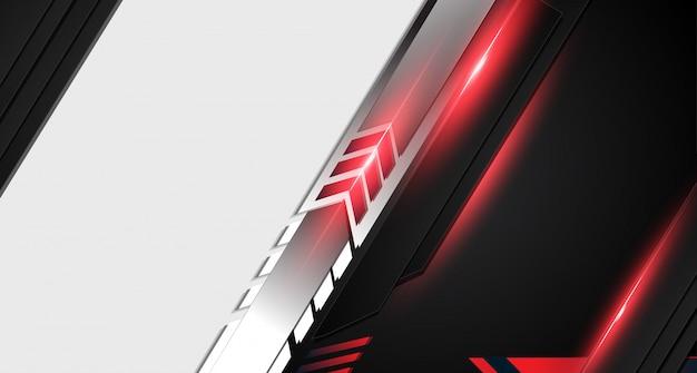 Fundo moderno do molde do projeto da tecnologia da disposição preta vermelha abstrata do quadro do metal. Vetor Premium