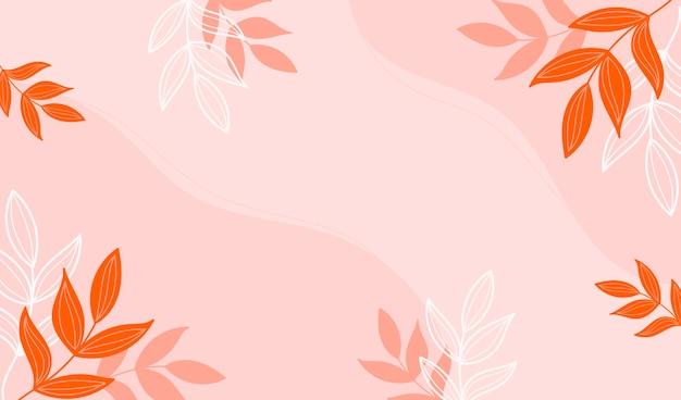 Fundo moderno do outono com folhas laranja e amarelas. Vetor Premium