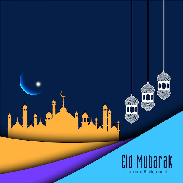 Fundo moderno festival islâmico eid mubarak Vetor grátis