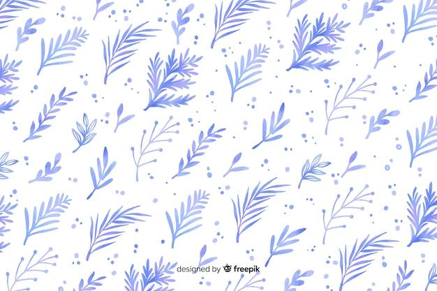 Fundo monocromático aquarela flores azuis Vetor grátis