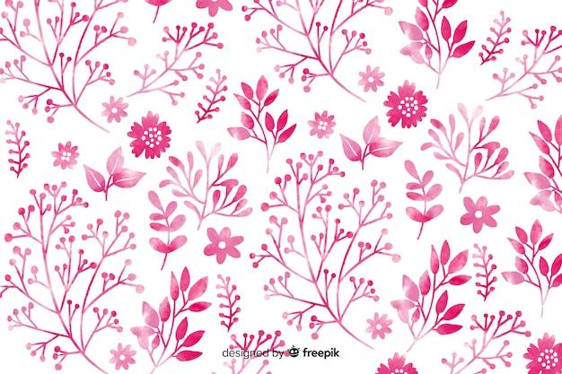 Fundo monocromático de flores em aquarela rosa Vetor grátis