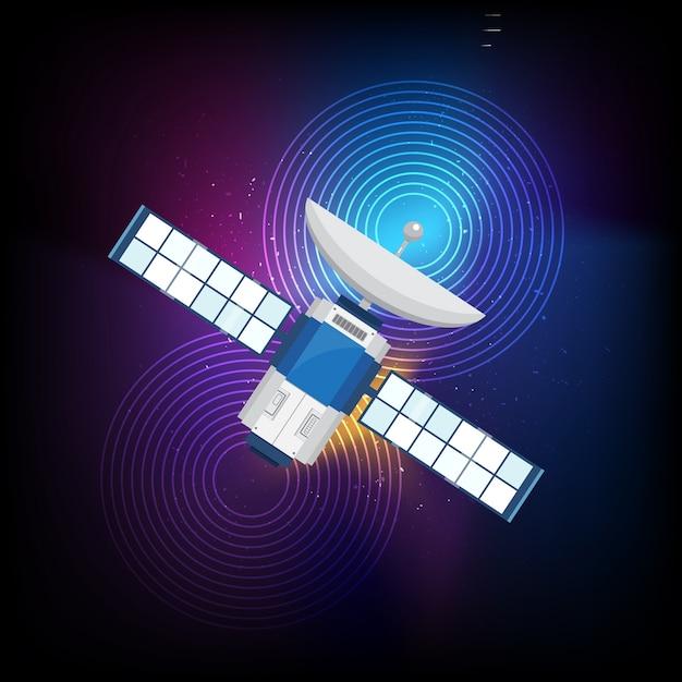Fundo Multicolor com satélite Vetor Premium