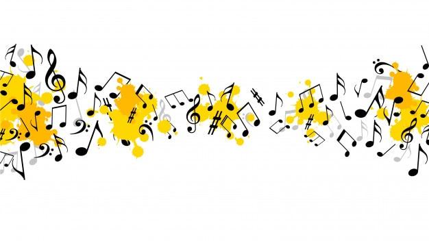 Fundo musical abstrato com notas Vetor Premium