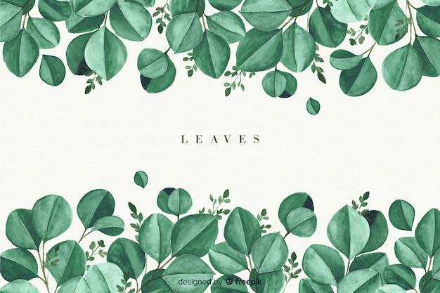 Fundo natural aquarela com folhas Vetor grátis
