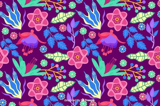 Fundo natural com floral exótico colorido Vetor grátis
