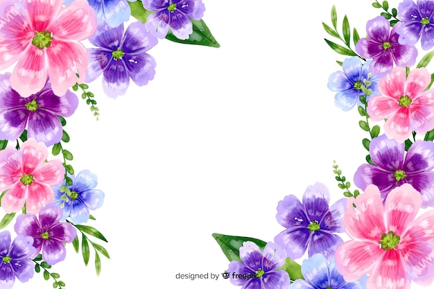 Fundo natural com flores coloridas em aquarela Vetor grátis
