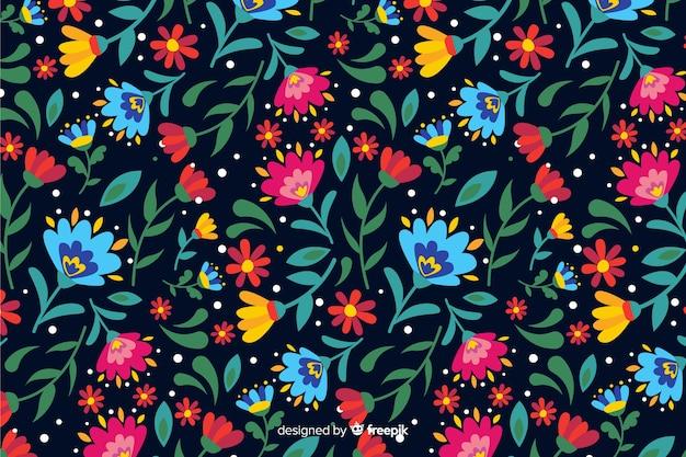 Fundo natural com flores coloridas Vetor grátis