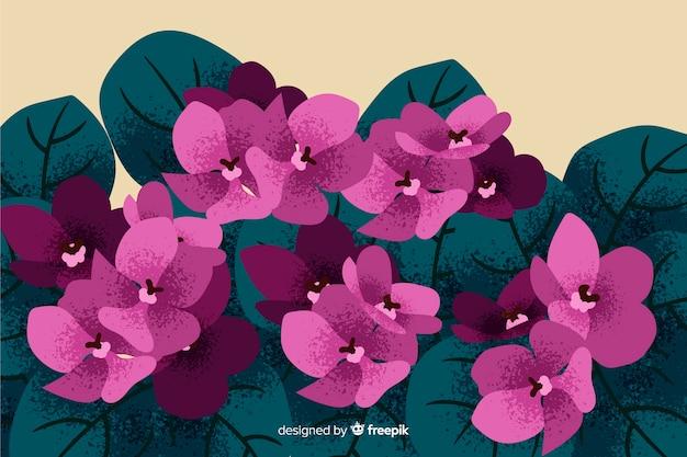 Fundo natural com flores desenhadas a mão Vetor grátis
