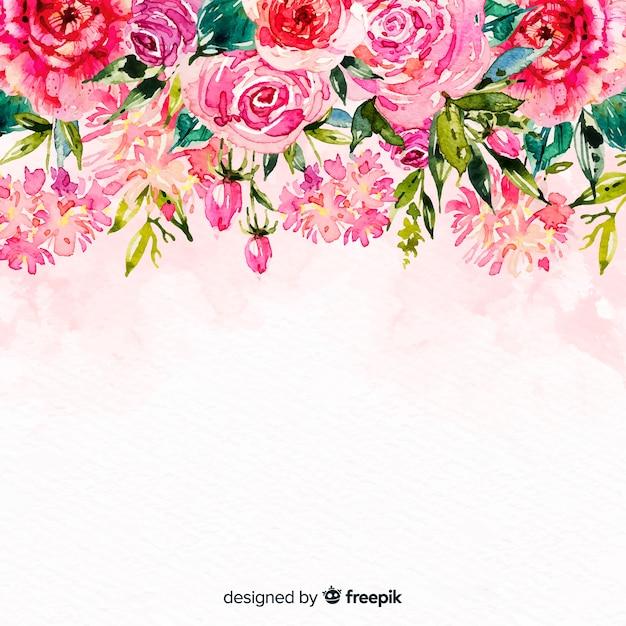 Fundo natural com flores em aquarela Vetor grátis