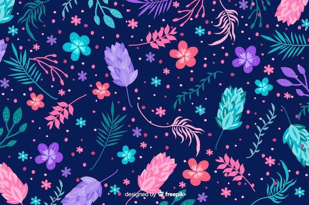Fundo natural com flores exóticas coloridas Vetor grátis