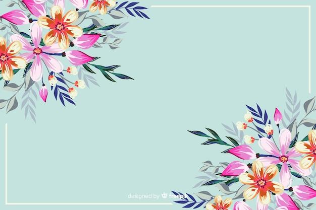 Fundo natural com flores pintadas coloridas Vetor grátis