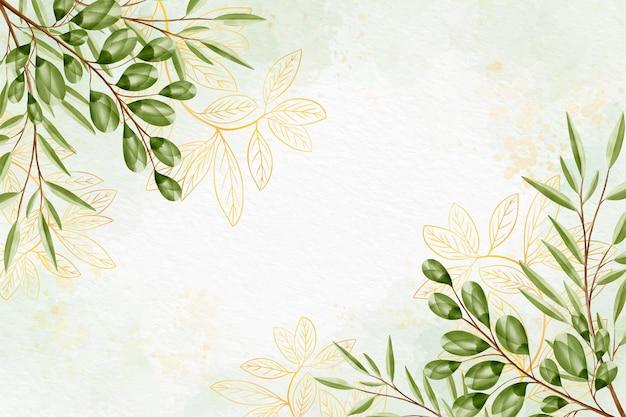 Fundo natural com folha dourada Vetor grátis