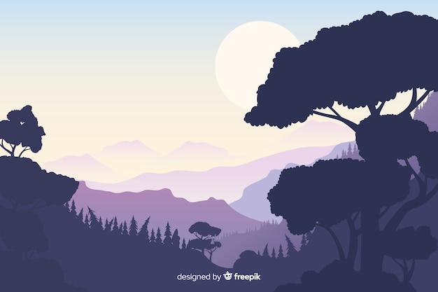 Fundo natural com paisagem de montanhas Vetor grátis