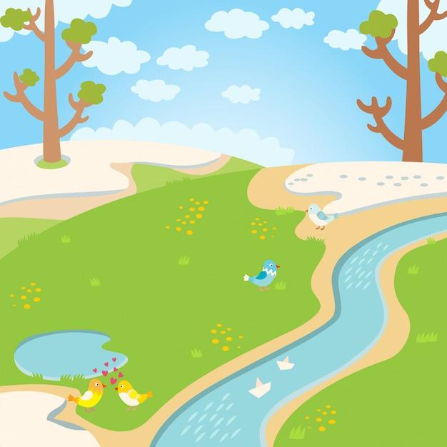 Fundo natural da mola da grama verde com rio, árvores, pássaros e vetor branco das nuvens. Vetor Premium
