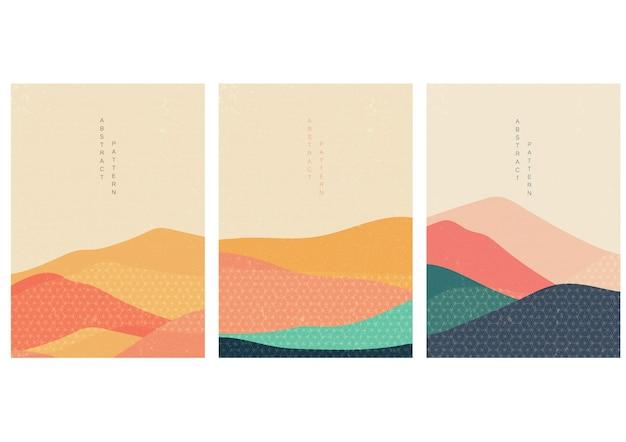 Fundo natural da paisagem com vetor do estilo japonês. Vetor Premium