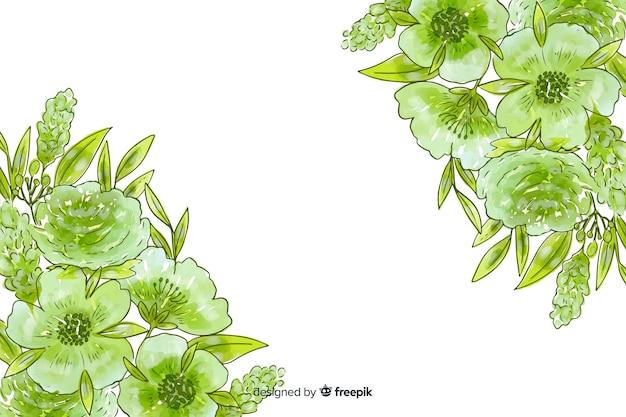 Fundo natural em aquarela com flores Vetor grátis