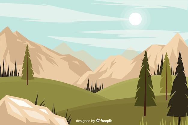Fundo natural plana com paisagem Vetor grátis