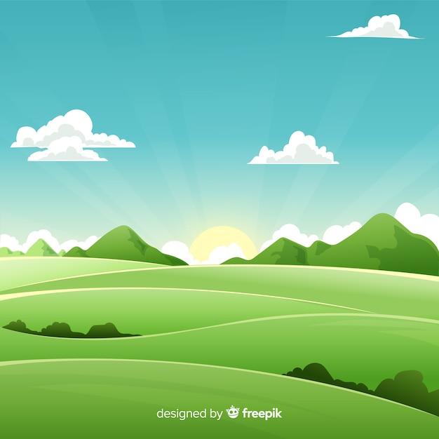 Fundo natural plana com paisagem Vetor Premium