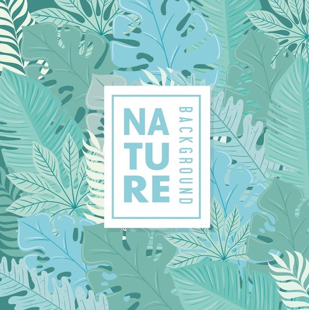 Fundo, natureza tropical folhas com cor pastel Vetor Premium
