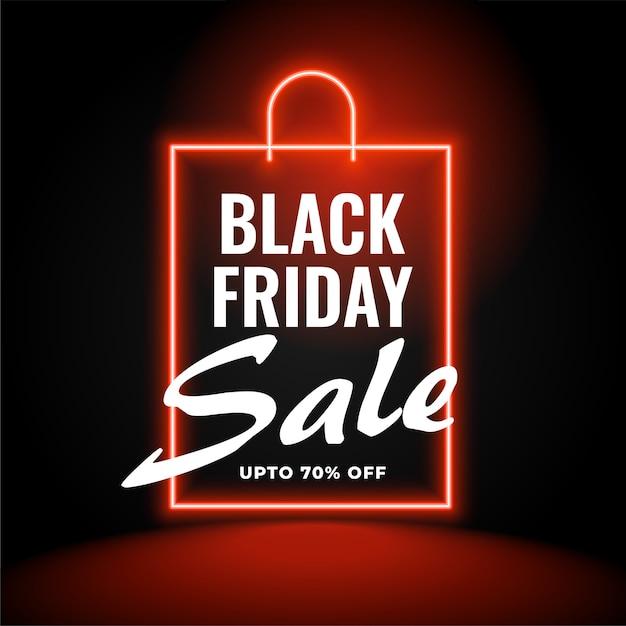 Fundo neon preto de venda sexta-feira com sacola de compras Vetor grátis