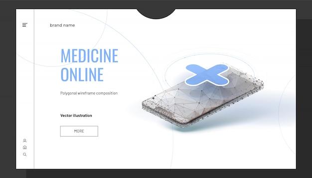 Fundo on-line de medicina isométrica com estilo de estrutura de arame poligonal Vetor Premium