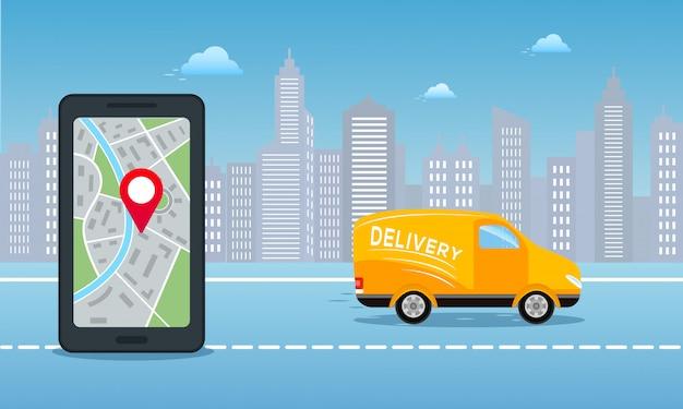 Fundo on-line do serviço de entrega de pedidos Vetor Premium