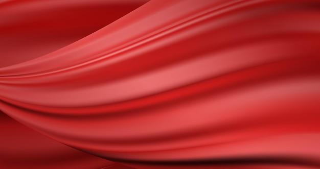 Fundo ondulado de cetim fluindo de luxo vermelho. textura de tecido de seda escarlate Vetor Premium