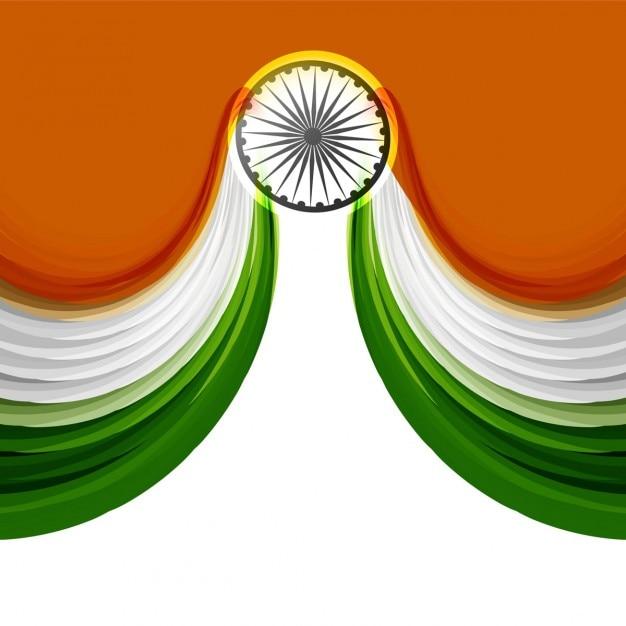Fundo ondulado em cores da bandeira indiana Vetor grátis