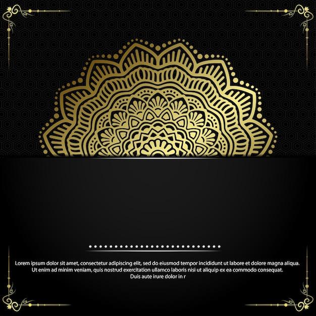 Fundo ornamentado de mandala de ouro de luxo Vetor Premium
