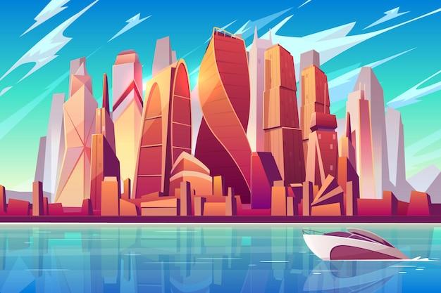 Fundo panorâmico dos desenhos animados da skyline da cidade de moscou com centro de negócios internacional Vetor grátis