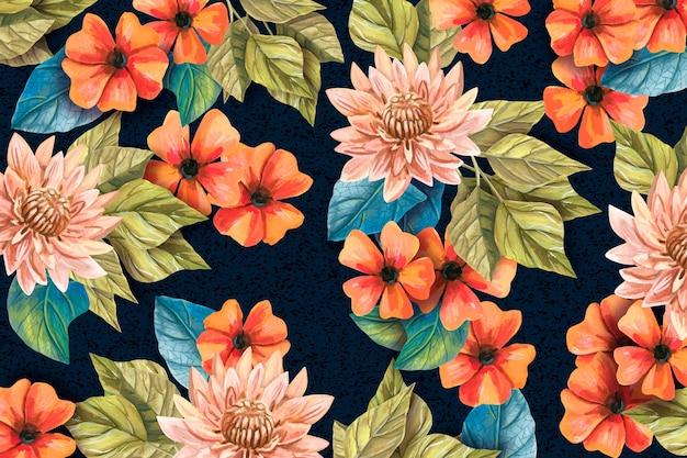 Fundo pintado à mão realista floral Vetor grátis