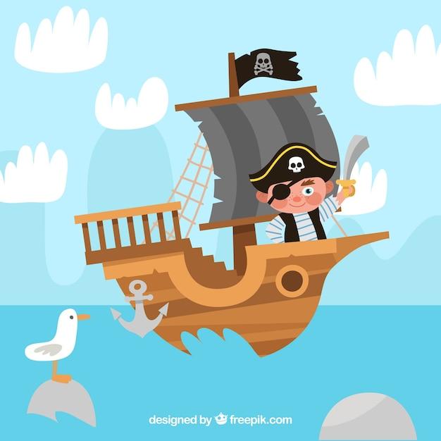 Fundo, pirata, menino, bote Vetor grátis