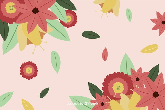 Fundo plano colorido com flores Vetor grátis