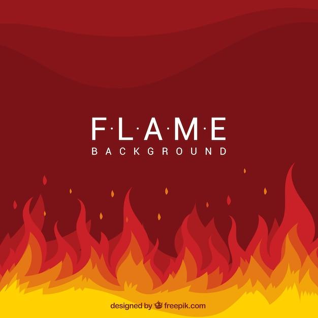 Fundo plano com chamas e formas onduladas Vetor Premium