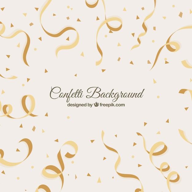Fundo plano com confetes dourado Vetor grátis