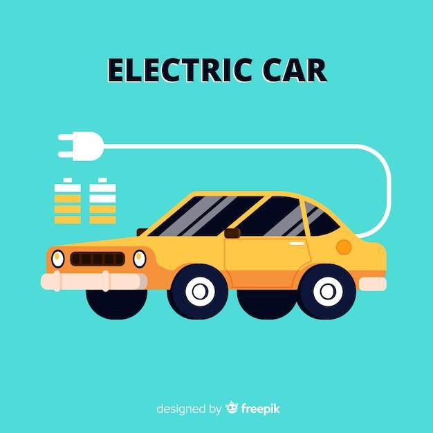 Fundo plano de carro elétrico Vetor grátis