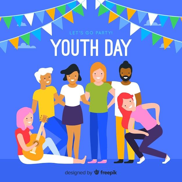 Fundo plano de dia da juventude com os jovens Vetor grátis