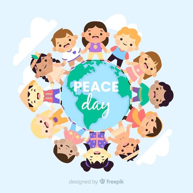 Fundo plano de dia de paz com as crianças Vetor grátis