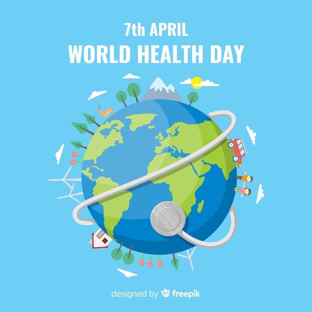 Fundo plano de dia de saúde do mundo Vetor grátis