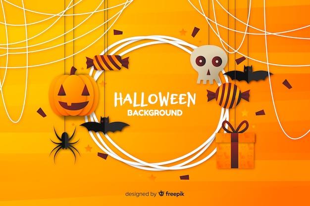 Fundo plano de halloween com tons de laranja Vetor grátis