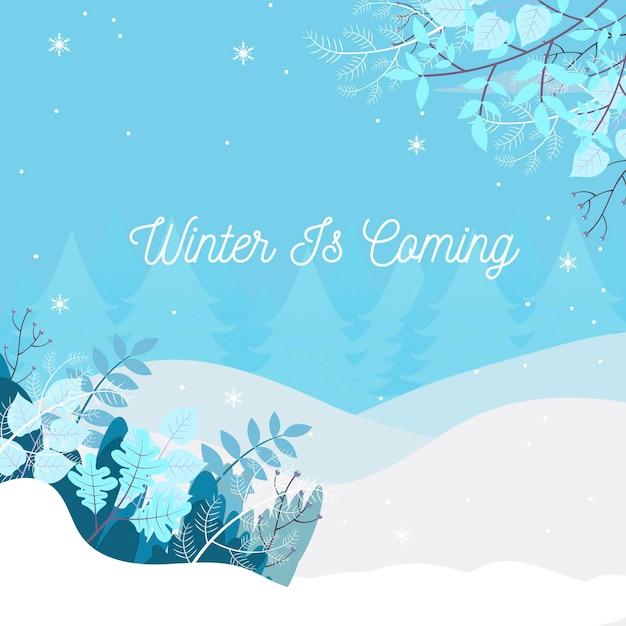 Fundo plano de inverno Vetor Premium