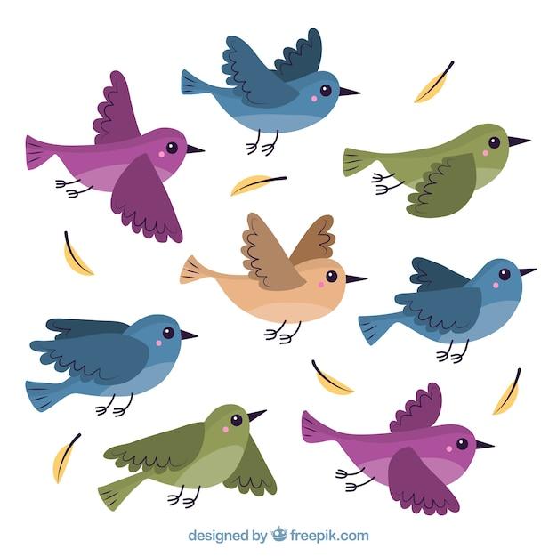 Fundo plano de pássaro voador Vetor grátis